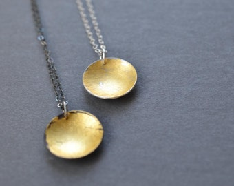 Gold Flecked Domed Pendant- lunar necklace, celestial jewelry, gold disc necklace, contemporary pendant necklace, minimalist necklace