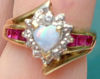 SALE, Sz 2.75, Heart Shaped, Pink Opal, Solid 10k Gold, Opal Ring, Diamond Accents, Genuine Rubies,Sweetheart Gift, Pinky Ring,OOAK