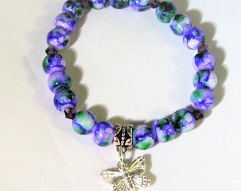 Purple Mixed With Swarovski and a Butterfly Charm Glass Bead Stretchy Bracelet