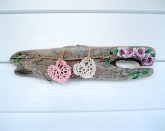 Painted Driftwood, Roses on Driftwood, Crochet Hearts on Driftwood, Wall Decor, Nursery Decor, Natural Decor, by gardenstones on etsy