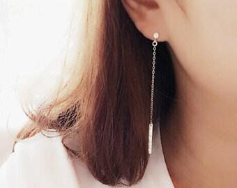 Silver Bar Dangle Earrings/ Bar Earrings/ Silver Bar Chain Earrings/ Minimalist Earrings/Silver Drop Earrings/ Clear CZ Earrings