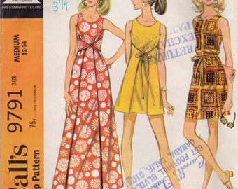 Vintage 1969 McCalls Sewing Pattern 9791 / Misses Wrap Festival Dress in Mini, Knee and Maxi Lengths / Medium 12-14