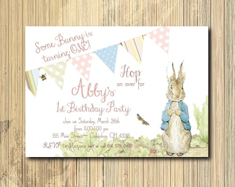 Peter Rabbit Birthday Invitation Girl/printable/Digital/peter rabbit birthday, Beatrix Potter, bunny birthday/Wording can be changed