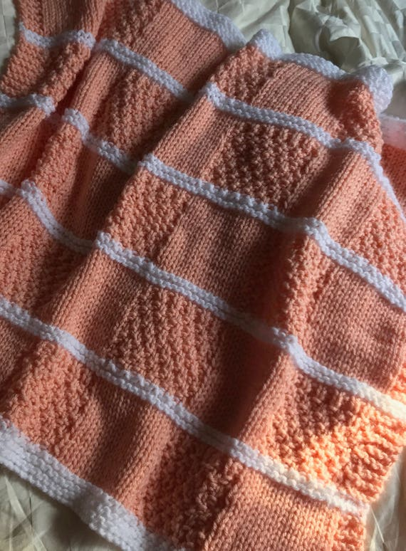 Irish Moss Baby Blocks Blanket Knit Pattern Easy Knit Baby