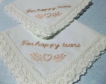 blush pink, for happy tears, wedding handkerchief, hand embroidered, wedding colors welcome, bridal gift, bridesmaid gift, gift for bride