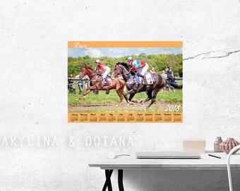 Calendar 2018 Rases horse photo Wall art Printable A2 A3 Calendar One page At glance calendar Annual Calendar office decor home