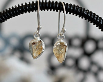 silver plated brass earrings, citrine stone earrings, citrine drop earrings, raw stone earrings, healing stone earrings, rough raw crystal