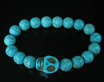 7.5inch Cool Turquoise Baby Blue Skull Round Baby Blue Beads Stretchy Bracelet ZZ226