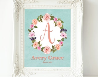 Baby girl nursery wall art coral teal nursery decor personalized baby gift for baby girl room decor baby shower gift new mom gift