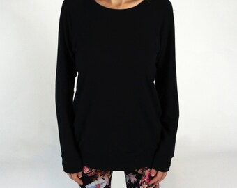 Women's bamboo sweatshirt, ladies long sleeve shirt, black bamboo, gifts for her, sale, s m l XL, 2XL