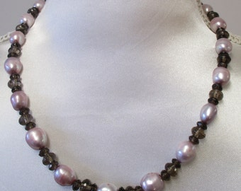Pink pearl and smokey quartz necklace