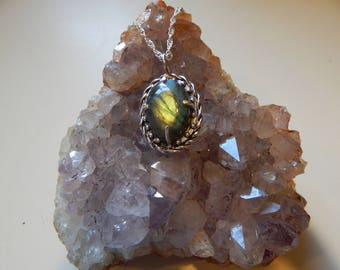 Flashy Labradorite Sterling Silver Pendant Necklace