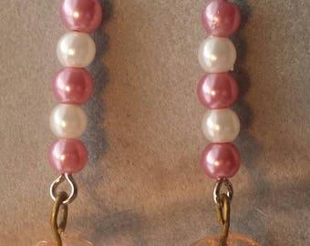 Light Pink Leaf Drop Earrings