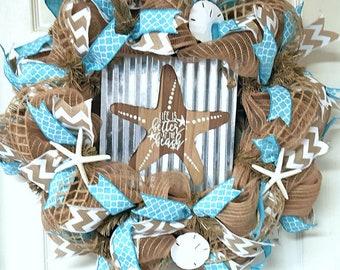 Seashell wreath , Coastal wreath , Nautical wreath , Beach wreath , Beach decor , starfish beach wreath , Mothers Day Gift
