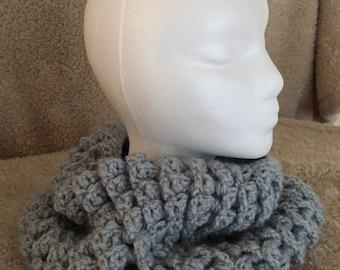 Textured gray crochet bulky cowl