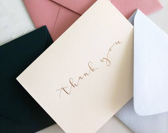 Single Foil Pressed Thank You Card