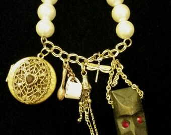 After Life Accessories Repurposed Stretch Charm Bracelet Tiki Gold Locket