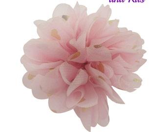Light pink gold heart - Fabric flower - 2 inch chiffon flower - Ballerina flower - Pink flowers - Barefoot sandals