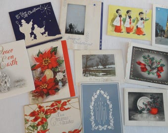 Little Wishes for Christmas with Various Holiday Themes in Vintage Christmas Card Lot No 1208 Total of 15