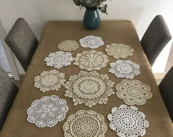 Set of 12 pcs ~ Assorted hand crochet round doilies for wedding, 100% handmade floral wedding centerpieces, round coasters for home decor