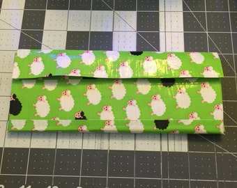 Sheep and green with white womens wallet