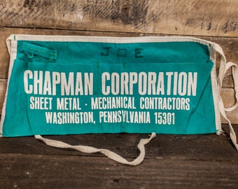 Vintage Carpenter Apron Chapman Corporation Washington PA Sheet Metal Hardware Building Supplies Store Apron Advertising