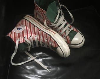 Size 7 Ladies 5Mens All Star Converse Red White Candy Cane Stripe Christmas Hi top Sneakers  90's Vintage