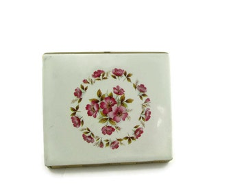 Vintage Colibri White Enamel Pink Floral shabby chic  Gold Tone Lady's  Cigarette Case Made in England