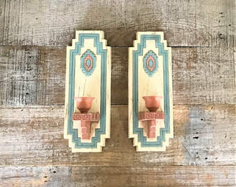 Sconce 2 Candle Sconces Southwestern Candle Holder Plastic Sconces Native American Candle Holder Vintage Burwood Candle Holders Taper Candle