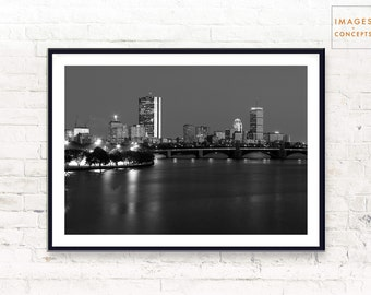 Boston Skyline Poster ~ Urban Photo ~ Black and White ~ Cityscape Print ~ Home Decor ~ Printable Art ~ Digital Download ~ Digital Print