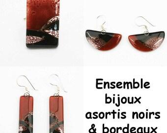 Matching Burgundy & Black Glass Jewelry set
