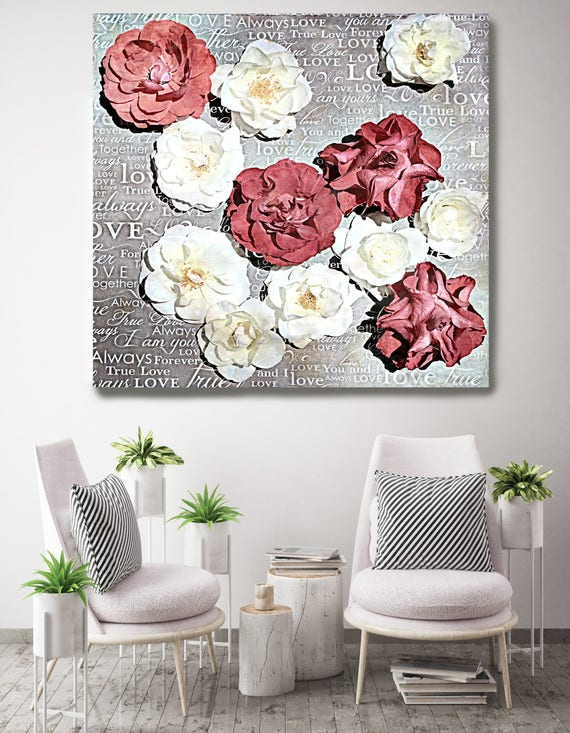 "Shabby Chic Flowers 71. Rustic Floral Painting, Red White Black Rustic Large Floral Canvas Art Print up to 48"" by Irena Orlov"