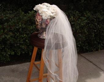 Reduced Wedding Veil, Vintage Cream Velvet Leaf, Pearl Trim Cap - item 732, Wedding Apparel