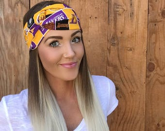 Los Angeles Lakers Turban Headband || Basketball California Hair Band Accessory Cotton Workout Yoga Fashion Red Black White Scarf Girl