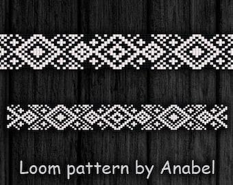 Bead loom pattern Square stitch pattern Black and white bracelet pattern Thin loom bracelet pattern Monochrome pattern Beading pattern PDF
