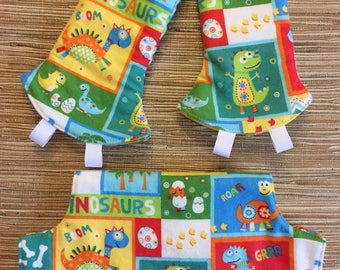 Curved Teething Pads and Bib for Lillebaby Baby Carriers / Lillebaby Bib Set / Lillebaby Dinosaurs / Yellow and White Polka Dots