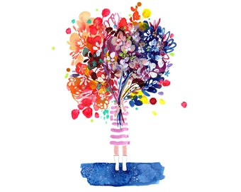 Art Print. Woman with Flowers. Gift for Her. Custom Wall Art. St Valentine Gift. I Love You. Thank You Gift. Bouquet Flowers. CreativeIngrid