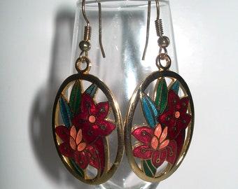 AZURE ,cloisonne earrings, red orchids,vintage,enamelled,drop earrings, oval