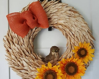 Sold - Fall wreath with sunflowers and burlap owl