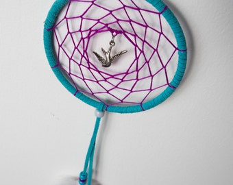SALE !! Dream Catcher with Bird Charm // Purple // Teal // Gray // Feathers // 4 Inch Hoop