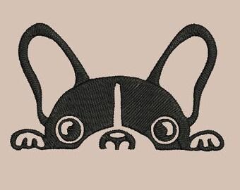 dog - french bulldog peeking - machine embroidery design Instant Download *NEW*