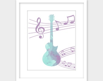 Guitar with Music Notes Printable Art, Blue & Lilac Purple Instant Download, Digital Art Print, Wall Art