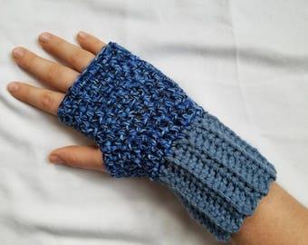 Blue Fingerless Gloves, Crochet Fingerless Gloves, Women's Fingerless Gloves, Fingerless Gloves, Handmade Fingerless Gloves, Crochet Gloves