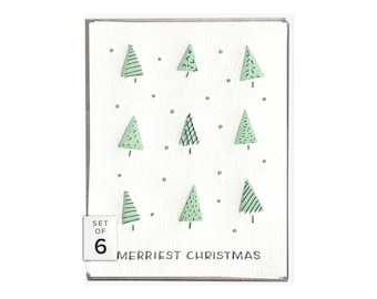 Merriest Christmas holiday letterpress card - boxed set