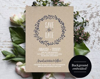 Save the Date Template, Navy Blue Save the Date, Rustic Save the Date, Wreath, Template, Wedding Printable, PDF Instant Download #BPB219_2
