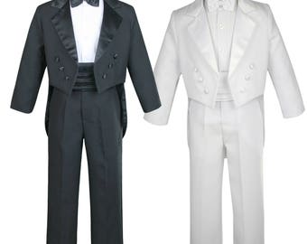 New Baby Toddler Boys WHITE or BLACK Formal Baptism Communion Wedding Ring Bearer Formal Occasion 5 pieces Tail Suit Tuxedo BY008