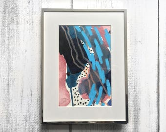 Original Mixed-Media Abstract Painting on Paper. Framed.