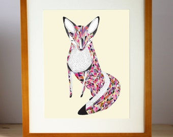 Geometric Fox Art, Fox Wall Art, Quilted Fox Print, Multicolored Fox Print, Fox Art Print, Fox Artwork, Fox Wall Decor, Woodland Fox Print