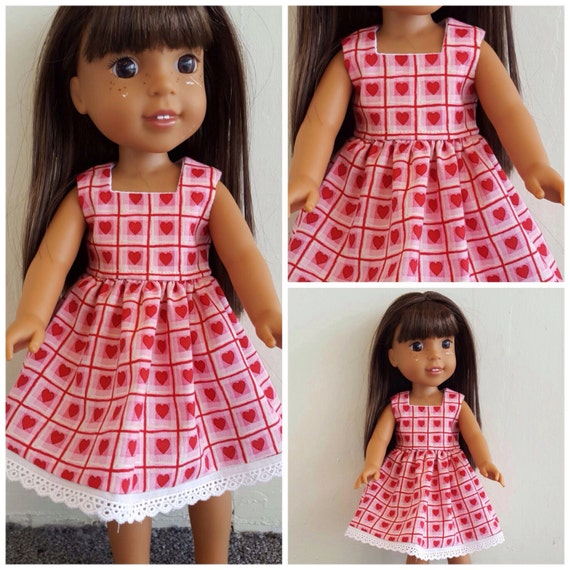 Heart Handmade Dress For the 14 Inch doll Wellie Wisher