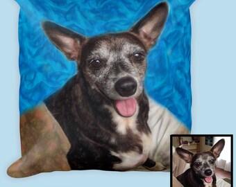 Custom Dog Pillow-Custom Pet Art-Pet Memorial-Dog Lover Gift-Personalized Pet Pillow